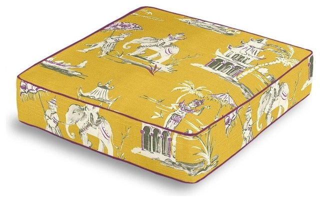 Purple and Yellow Chinoiserie Box Floor Pillow - Asian - Decorative Pillows - by Loom Decor