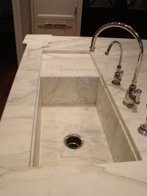 Callacatta Gold Kitchen Island With Custom Sink And Drain Board