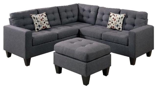 Connie modular sectional sofa with ottoman gray for Modular sectional sofa with ottoman