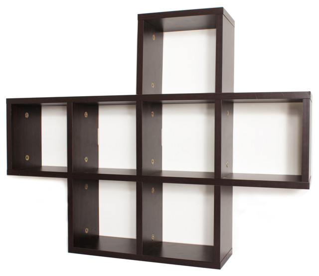 Cosimo cubby laminated shelving unit espresso contemporary display wall shelves by danya b - Decorate wall shelves ...