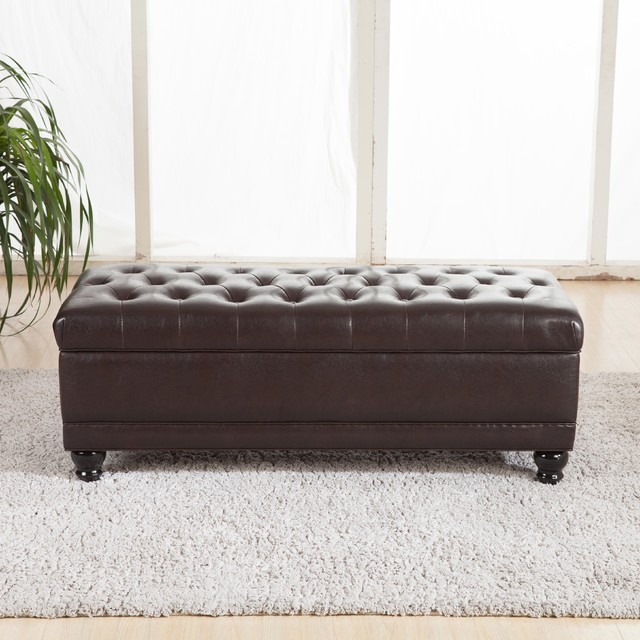 Luxury Comfort Classic Brown Tufted Storage Bench Ottoman