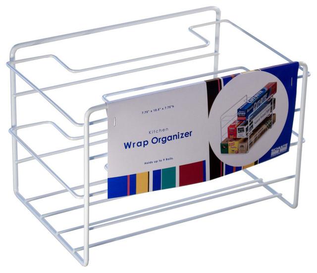 Kitchen wrap organizer white contemporary pantry and for Under shelf basket wrap rack