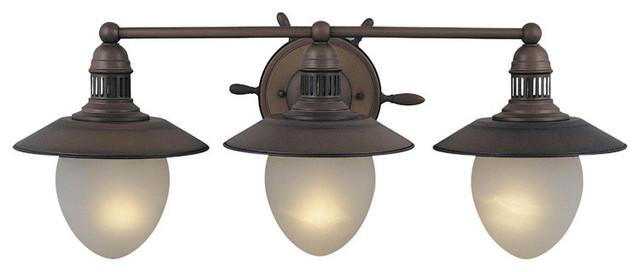 Coastal Style Vanity Lights : Orleans Antique Copper 3 Light Vanity - Beach Style - Bathroom Vanity Lighting