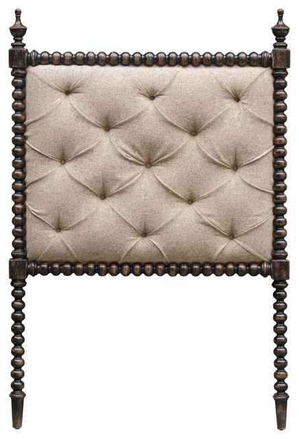 Iberico Global Bazaar Tufted Linen Carved Wood Twin