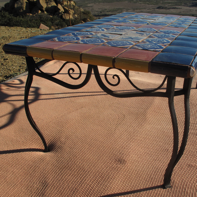 Talavera Tile Top Wrought Iron Tables Mediterranean