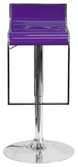 Purple Plastic Adjustable Height Barstool With Chrome Drop