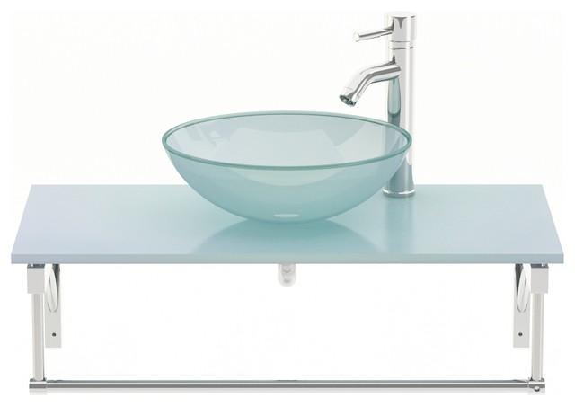 Aries Single Vessel Sink Modern Bathroom Vanity With Glass