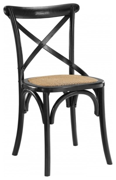 Modway Gear Dining Side Chair In Black Farmhouse