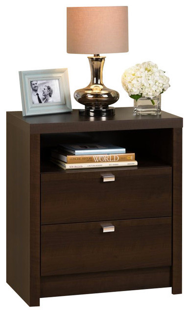 Prepac series 9 designer tall 2 drawer nightstand in for Tall modern nightstands