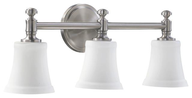 Quorum international 5122 3 65 satin nickel 3 light vanity for Eclairage lavabo