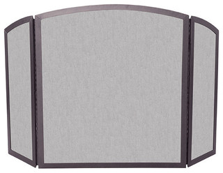 Uniflame S 1658 3 Fold Bronze Wrought Iron Screen W Continuous Arch Traditional Fireplace