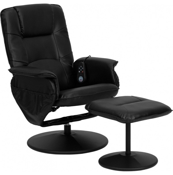 Flash Furniture Black Bonded Leather Recliner Modern Armchairs And Accent