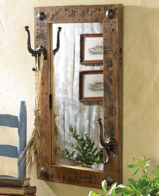 Antiqued mirror w hooks Rustic Home Decor by Black