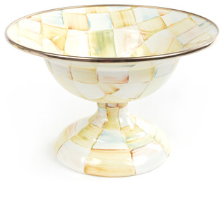 Parchment Check Enamel Compote - Small | MacKenzie-Childs - Eclectic - Serving And Salad Bowls ...