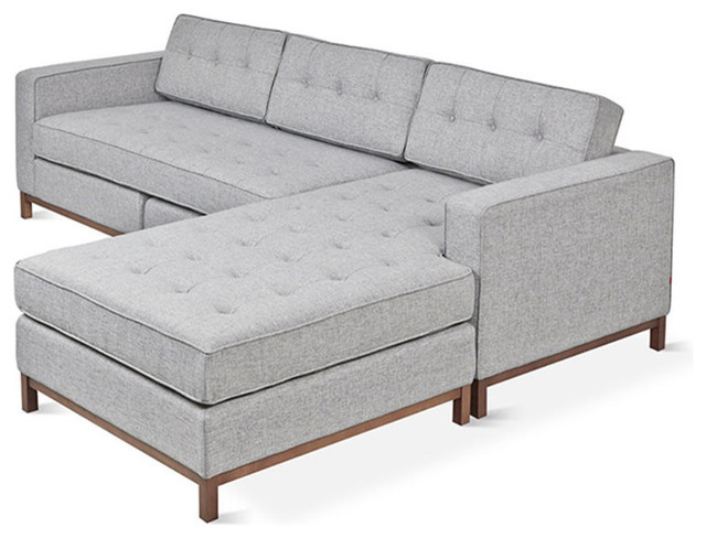 Jane Bi Sectional with Walnut Base Parliament Stone transitional sectional sofas