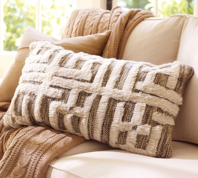 Contemporary Decorative Pillows: Kendi Hand-Knotted Lumbar Pillow Cover