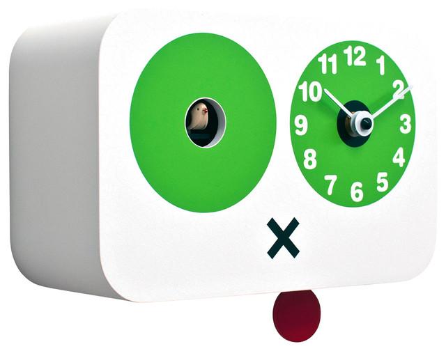 Cucchino 2045 white wall clock contemporary cuckoo clocks by modo bath - Contemporary cuckoo clock ...