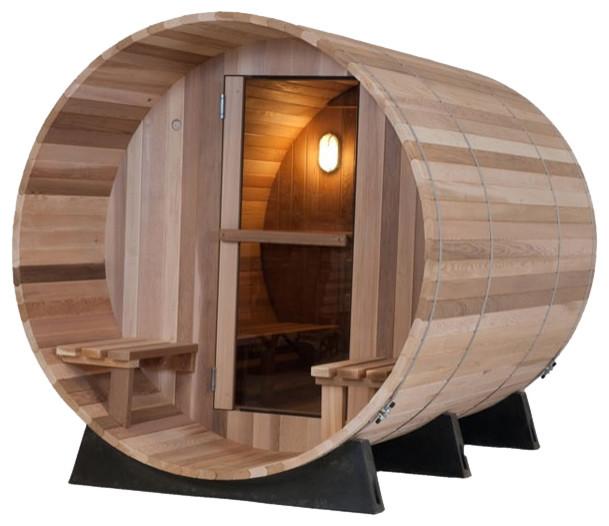 western red cedar canopy barrel sauna traditional. Black Bedroom Furniture Sets. Home Design Ideas