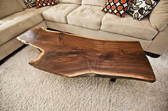 Live Edge Wood Slab amp Pipe Coffee Table Rustic living room