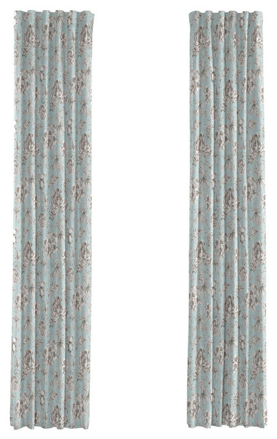Light Blue Floral Toile Curtain Single Panel Ring Top Traditional Curtains By Loom Decor