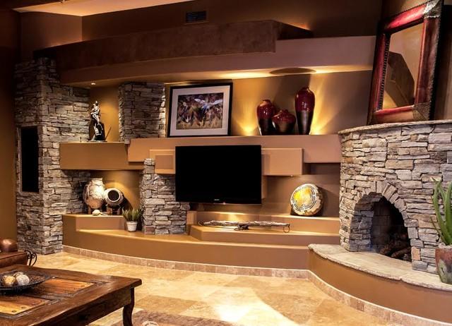 DAGR Design Custom Media Wall Entertainment Center Southwestern Living Ro