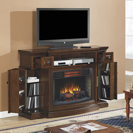 Memphis infrared electric fireplace entertainment center in cherry 32imm4787 c contemporary - Contemporary electric fireplaces entertainment center ...