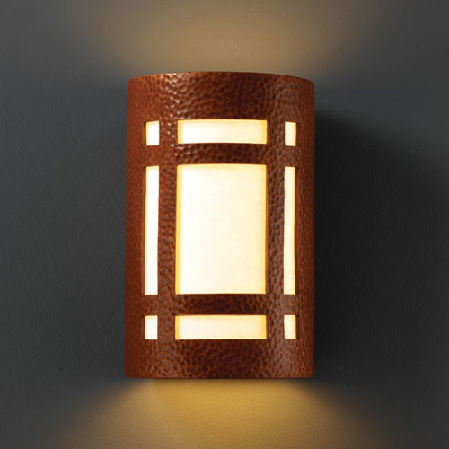 Ambiance Hammered Copper Small Craftsman Window Bathroom Wall Sconce - Modern - Bathroom Vanity ...