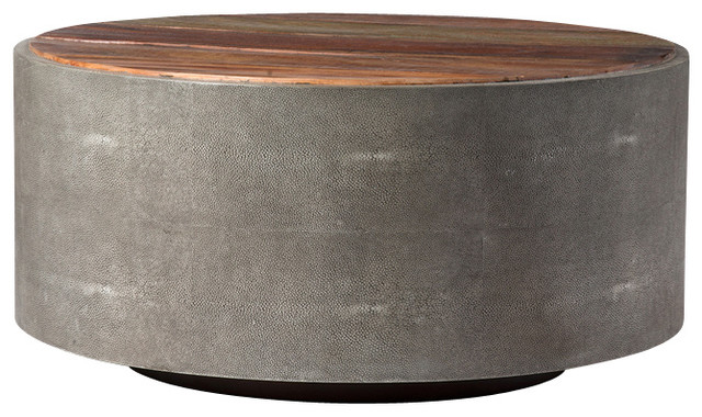 Four Hands Crosby Round Coffee Table Industrial Coffee Tables By Seldens Furniture