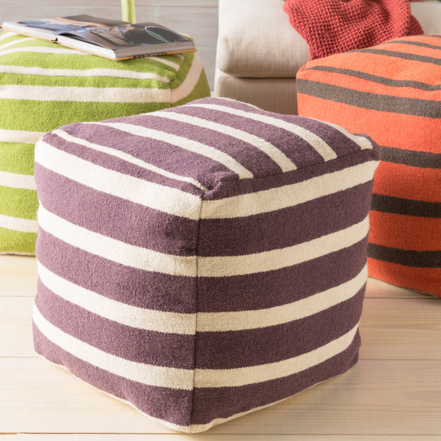 hand crafted colby striped 18 inch square pouf