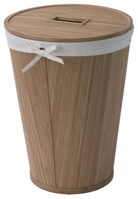 Eco Style Bamboo Round Hamper w Lid - Contemporary - Hampers - by ShopLadder