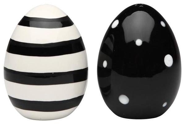2 75 Inch Black And White Polka Dot And Striped Eggs Salt