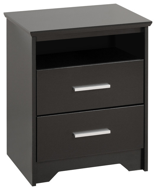 Yaletown 2 drawer tall black night stand contemporary for Tall modern nightstands