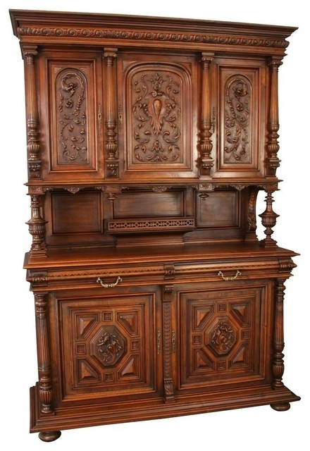 Consigned Antique French 1900 Renaissance Carved Buffet Cabinet Server Sideboard - Traditional ...