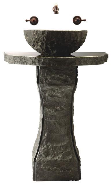 Pillar Divine Pedestal Set With Vessel Basin Rustic