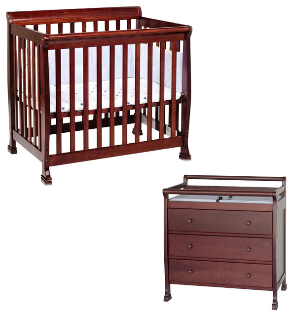 davinci kalani convertible mini wood crib set with changing table in cherry transitional. Black Bedroom Furniture Sets. Home Design Ideas