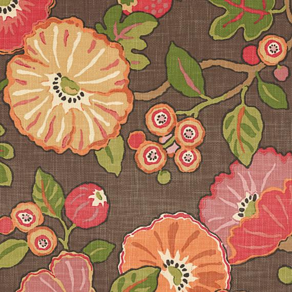 red orange modern floral fabric bauhaus look. Black Bedroom Furniture Sets. Home Design Ideas