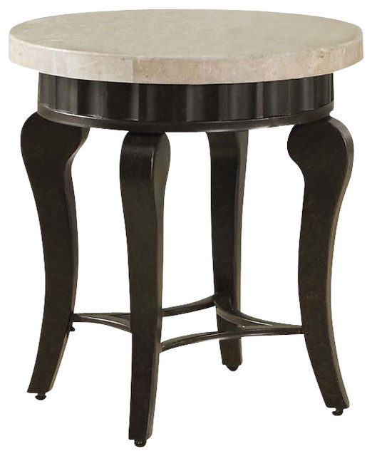 Wood Lorencia Round White Real Marble Top Arc Legs Acent Sofa Side End Table Contemporary