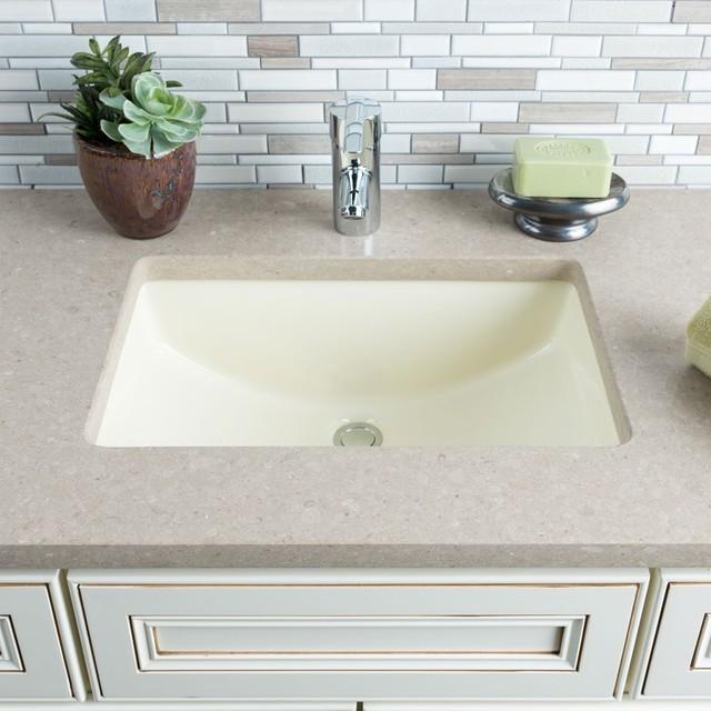 Hahn Ceramic Bisque Medium Rectangular Bathroom Bowl Um