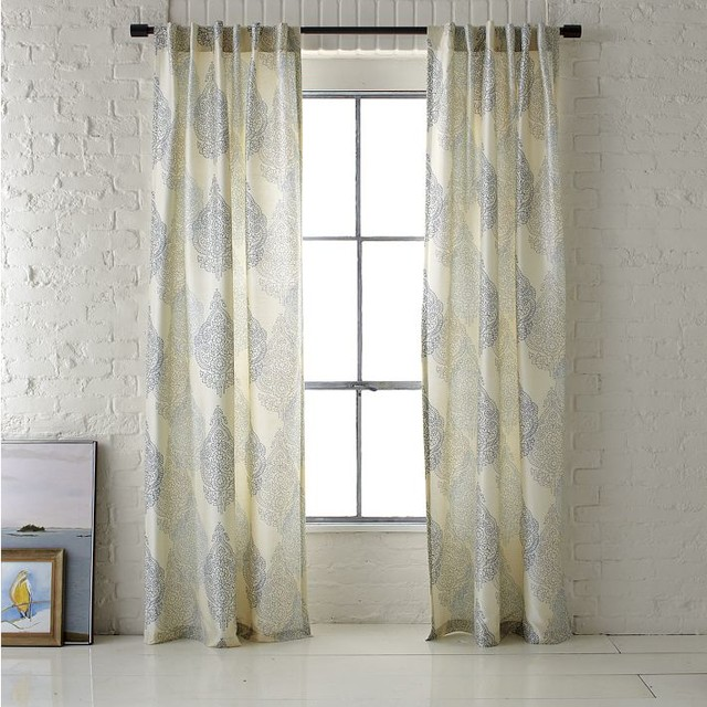 Ambi printed window panel contemporary curtains by Contemporary drapes window treatments