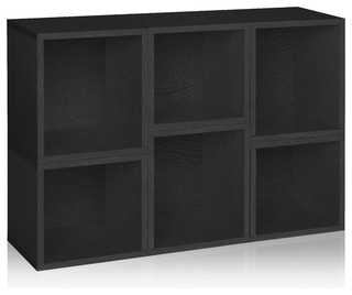 Way Basics Eco Stackable Arlington Modular Bookcase and Storage Shelf, Black