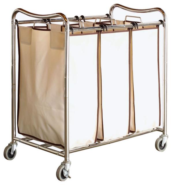 Heavy Duty 3 Bag Laundry Hamper Cart With Lockable Wheels