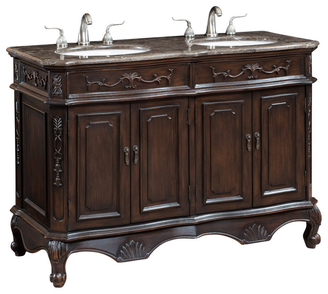 50 Inch Double Bathroom Vanity Cabinet With Marble Top Traditional Bathroom Vanities And