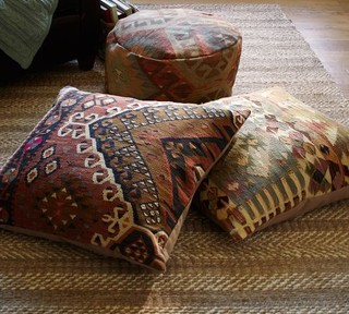Pb Found Kilim Floor Seating Covers Muted Eclectic
