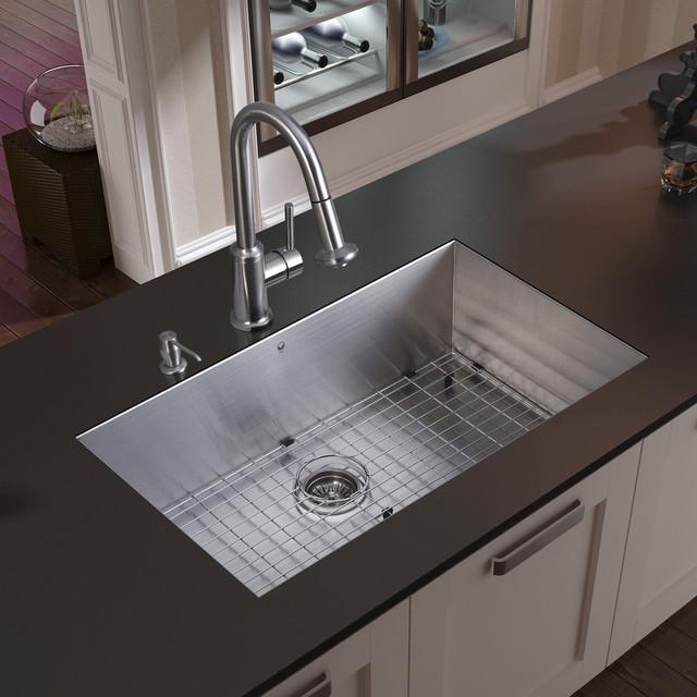 VIGO Undermount Stainless Steel Kitchen Sink, Faucet, Grid, Strainer ...