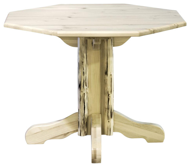 "45"" Log Pedestal Table Farmhouse Dining Tables by ShopLadder"