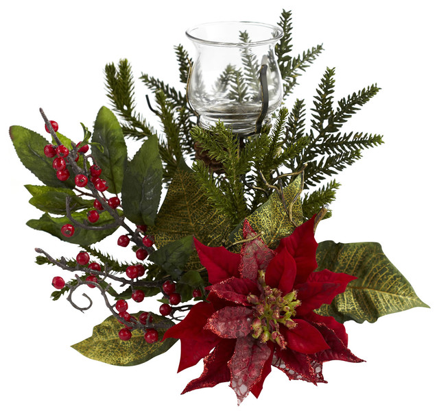 Poinsettia Candleabrum Traditional Christmas