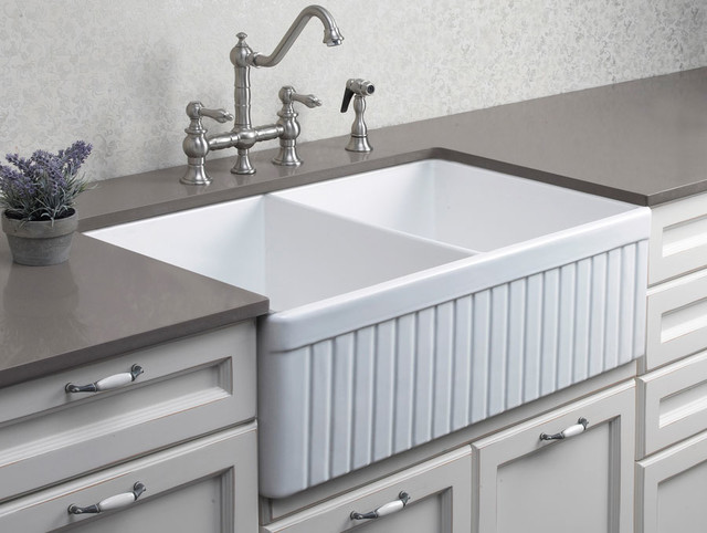 Double Sinks For Kitchen : Fluted Double Bowl Fireclay Farmhouse Kitchen Sink - Kitchen Sinks ...