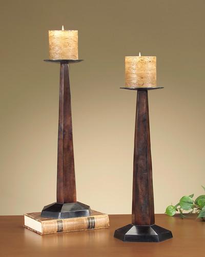 John Richard 22x7x6 Metal/Blk Cndl/Stk Tall contemporary-candleholders
