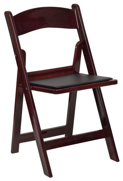 Flash Furniture Hercules Folding Chair in Red and Mahogany