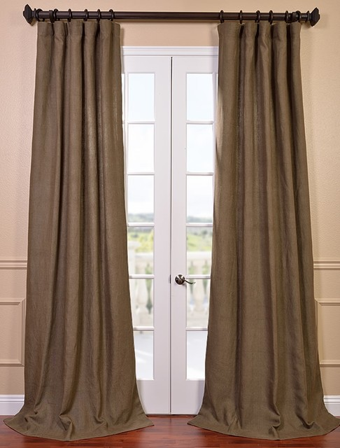 Truffle Brown French Linen Curtain Contemporary